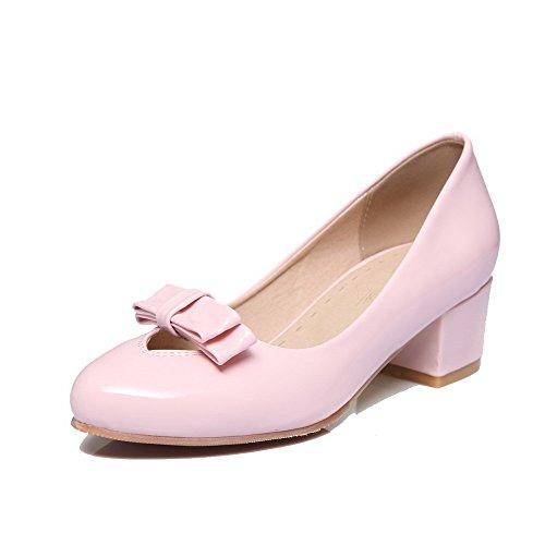 Amoonyfashion Damesschoenen Met Gesloten Neus Solide Kitten-hakken Pumps-schoenen Roze