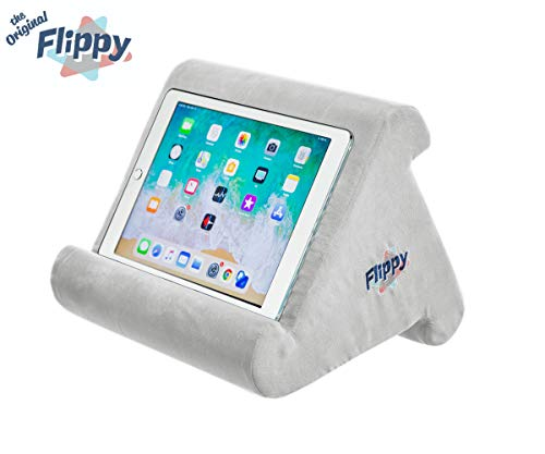Flippy Multi-Angle Soft Pillow Lap Stand for iPads, Tablets, eReaders, Smartphones, Books, & Magazines (Grey)
