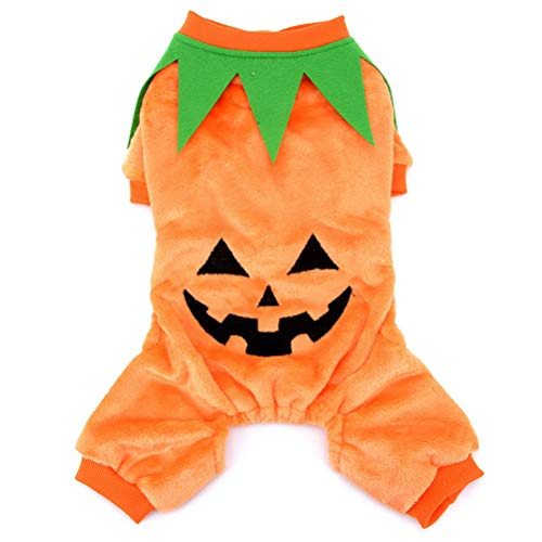 Zunea Halloween Pumpkin Dog Costume Pet Cosplay Outfits Velvet Winter Clothes Coat Apparel Fancy Party for Small Dogs Cats XL ()