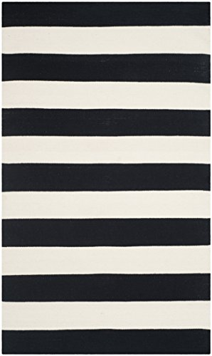 Safavieh Montauk Collection MTK712D Handmade Flatweave Black and Ivory Cotton Area Rug (3' x 5') - Ivory Cotton Rug