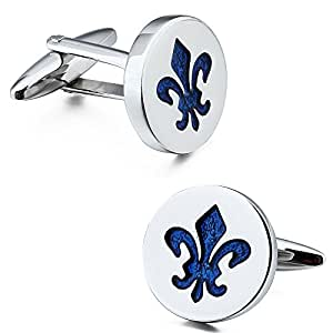Fleur De Lis Cufflinks for Men Dress Shirt Cuff Button Party Accessories in Gift Box