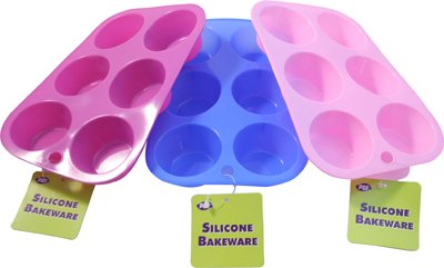 3 x SILICONE BAKEWARE MUFFIN CUP CAKE TRAY - each mould is 6cm - FREE DELIVERY Party & Paper Solutions