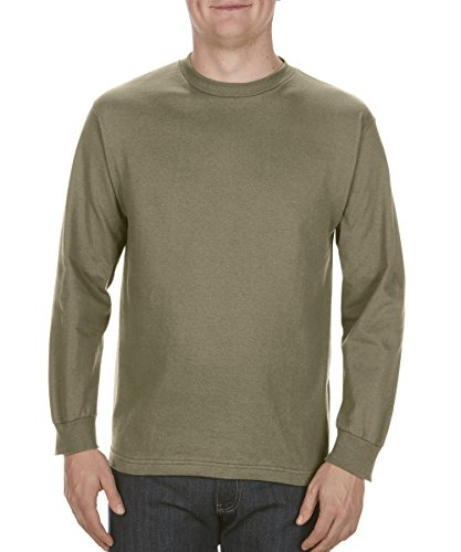 (Alstyle Apparel AAA Men's Classic Cotton Long Sleeve T-Shirt, Safari Green, Large)