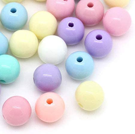 600 Pastel Acrylic Beads Round Assorted Pastel Colors 8mm or 3//8 Inch Diamete...