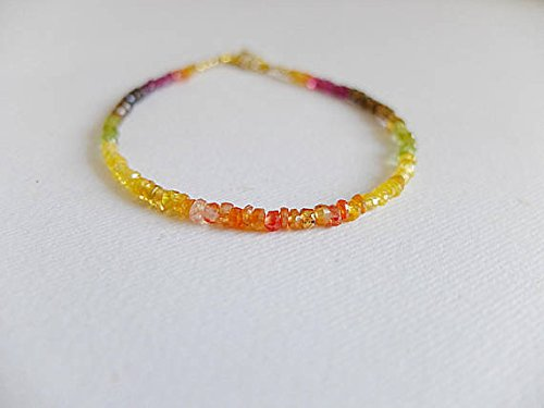 (JP_Beads Padparadscha Sapphire,Pink and Yellow Sapphire Bracelet,Andalusite,Multicolored Ombre Sapphire Gemstone Bracelet Yellow Orange Pink Shades 2-3 mm)