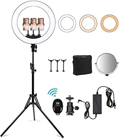 18 inch LED Ring Light with Stand Selfie Ring Light with Phone/Camera Holder Bluetooth Carry Bag Circle Light for LiveStream/YouTube/Makeup.