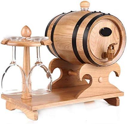 Wine Barrel Dispenser Wooden Storage Bucket for Whiskey Bourbon Tequila Wine Vinegar Beer,A LYMHGHJ 1.5L Vintage Oak Aging Barrels with Wine Cup Holder