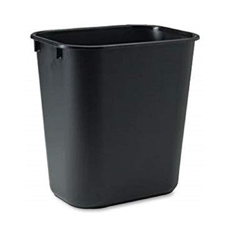 Rubbermaid Commercial Rubbermaid 295500BK Deskside Plastic Wastebasket, Rectangular, 3 1/2 gal, Black,