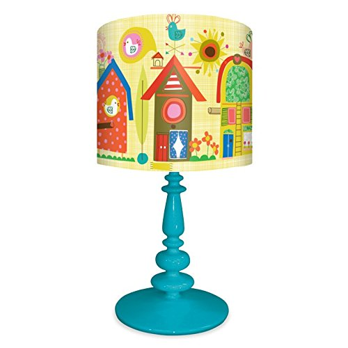 Oopsy Daisy NB14945 Lamp Backyard Birdhouses Canvas Shade with Turquoise Resin Base