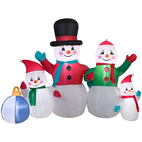 Christmas Inflatable 6' Snowman Family Airblown Decoration By Gemmy ()