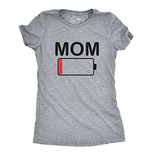 Womens Mom Battery Low Funny Empty Tired Parenting Mother T Shirt (Heather Grey) - XL ()