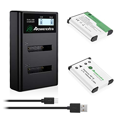 Powerextra 2X NP-45 Batteries and Dual USB Charger with LCD Display Compatible with Fujifilm INSTAX Mini 90 FinePix XP20 XP30 XP60 XP70 XP80 XP90 XP120 XP130 T360 T400 T500 T510 T550 T560