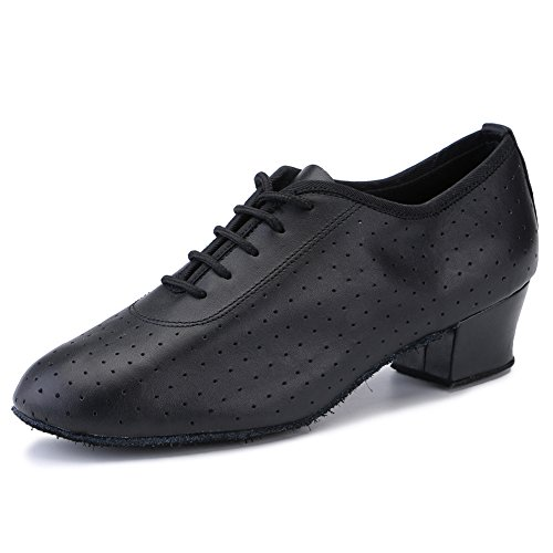 om Dancing Shoes Ladies Latin Practice Shoe Suede Sole Lace-up,Black Leather (8.5 B(M) US) ()
