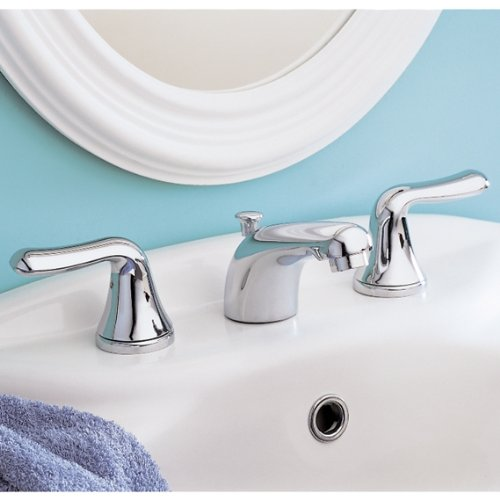 Satin Nickel American Standard 3875.501.295 Colony Soft Two-Handle Widespread Bath Faucet with Metal Lever Handles and 50//50 Drain