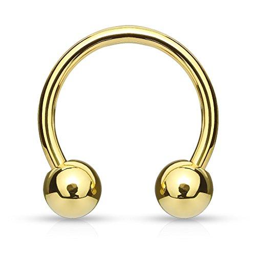 Lokahi Basics Gold Plated Over 316L Surgical Steel Horseshoe/Circular Barbells (Choose Size) (Thickness:16GA (1.2mm) Length:5/16