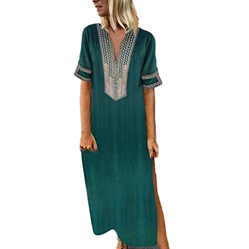 〓Londony〓 Women's Boho Split Tie-Waist Vintage Print Maxi Dress Bohemian Floral Printed Wrap Beach Party Maxi Dress Green