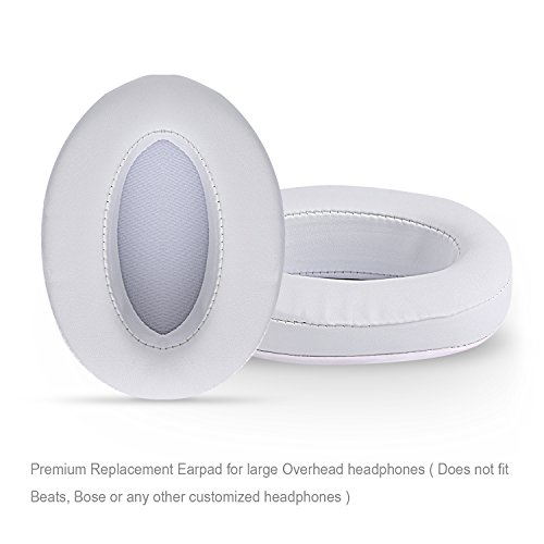 Tranesca leather replacement earpad/ear cushion/ear cover for big OVEREAR Headphones ( Fits a great variety of headphones) - White