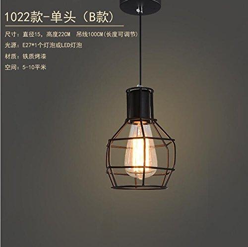 LuckyLibre Poignée de chambre à coucher Cuisine Restaurant Bar Cafe d'éclairage Lampe de couloir lustre cage en fer Boutique VêteHommests de levage ,tête simple noir