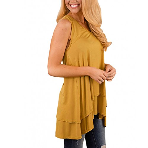 Sunhusing Women's Solid Color V-Neck Sleeveless Loose Tank Tops Irregular Ruffle Layered Hem Tunic Top Yellow