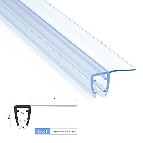 90cm UK06 - Ersatzdichtung fü r 4mm/5mm Glasdicke Wasserabweiser Duschdichtung Schwallschutz Duschkabine Duschprofil Duschtü rdichtung DQ-PP