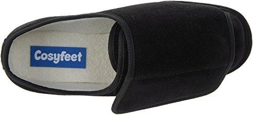 Cosyfeet Rowan Suede Slippers - Extra Roomy (Eeeee+ Width Fitting) Black Suede lgjtyG
