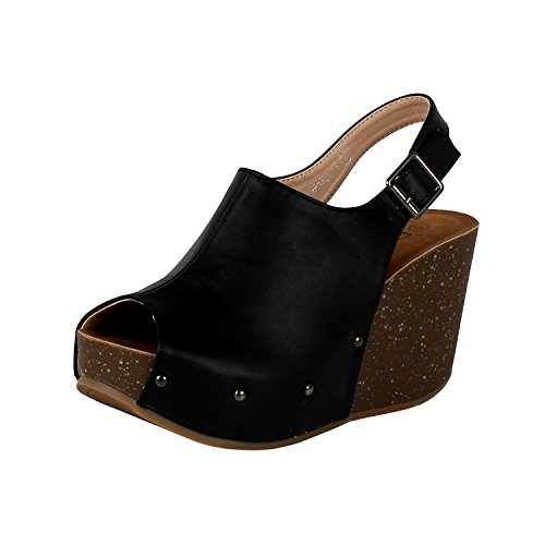 Adorable Black Peep Toe (Womens Sling Back Platform Wedge Peep Toe Mule & Clog Sandals, Black Pu, 5.5)