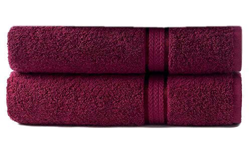Burgundy Bath - Cotton Craft - 2 Pack Ultra Soft Oversized Extra Large Bath Sheet 35x70 Burgundy - Weighs 33 Ounces - 100% Pure Ringspun Cotton - Luxurious Rayon trim - Ideal for everyday use - Easy care machine wash