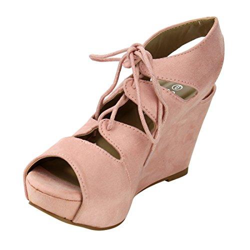 Per Sempre Ig00 Womens Lace Up Strappy Ricamo Piattaforma Sandali Con Zeppa Rosa