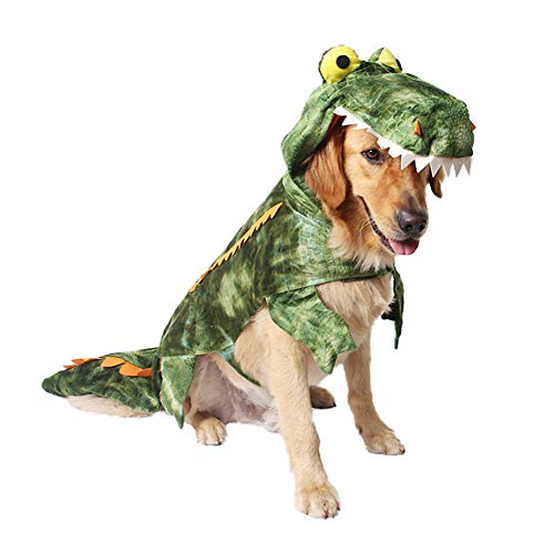 TizzyPet Alligator Costume for Dogs, Dog Crocodile Costume Funny Cosplay Outfit for Halloween Festival Party