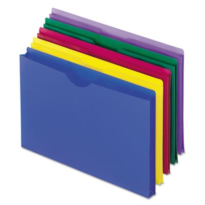 Expanding File Jackets, Legal, Poly, Blue/Green/Purple/Red/Yellow, 5/Pack, Sold as 2 Pack, Total 10 Each