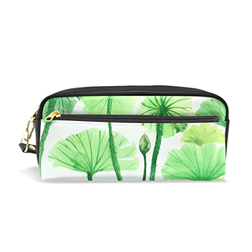 Dragon Sword Watercolor Painting of Green Lotus Leaves Pencil Case PU Leather Students Stationary Pen Bag Pouch Makeup Cosmetic ()