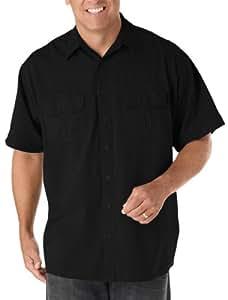Harbor Bay Big & Tall Short-Sleeve Co-Pilot Sport Shirt (1XL, Black)