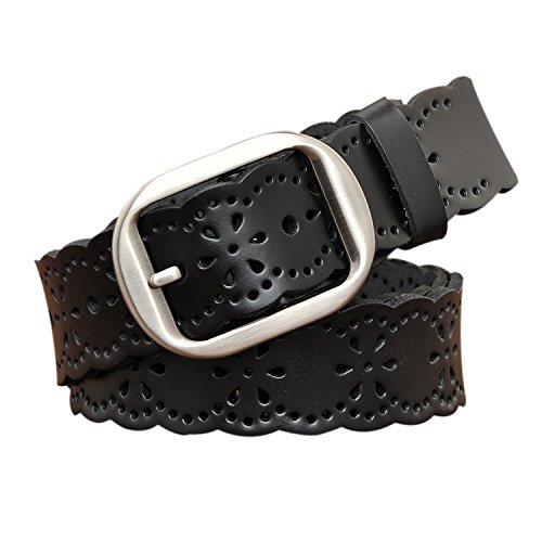 TUNGHO Vintage Women's Hollow Flower Genuine Leather Belt With Needle Buckle (XL, Black) ()