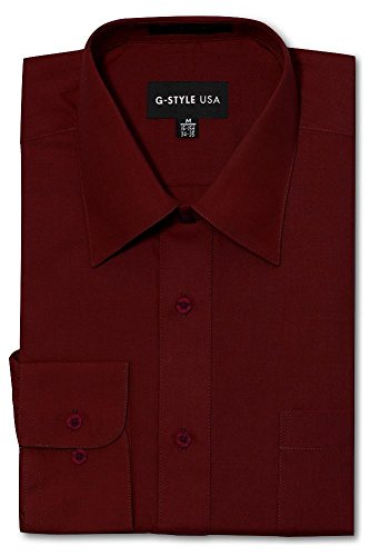 G-Style USA Men's Regular Fit Long Sleeve Solid Color Dress Shirts - Burgundy - X-Large - 32-33