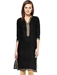 Chichi Indian Women's Embroidered Rayon Kurti Red Top