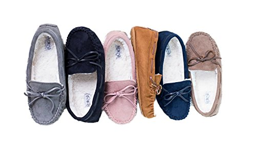Shoes Slip Moccasin Slippers Shearling Sole Bow Cozy Rubber ShopglamLA On Tie Mauve O8TWa4wn1q