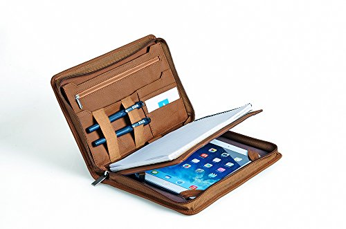 Compact Professional Leather Organizer Padfolio for iPad Mini 4, Junior Legal (A5) - Organizer Brown A5