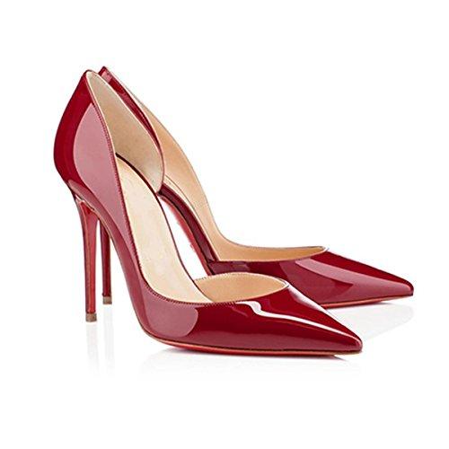 WSS chaussures à talon haut Fine en cuir pointu chaussures à talons creux et confortables chaussures occasionnelles lumière . red . 37