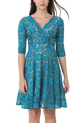 Kooosin Women Elegant Floral Lace Deep V Neck Long Sleeves Fit and Flare Dress Cocktail Wedding Party with Pockets (3XL, Navy) (Long Sleeve Fit And Flare Wedding Dress)