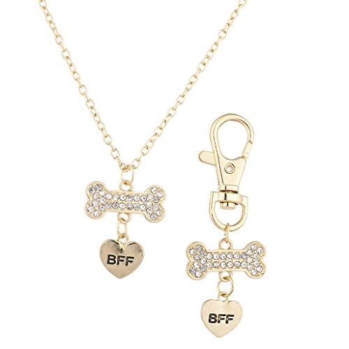 Lux Accessories Goldtone Crystal Pave Dog Bone Dog Collar OwnerNecklaceBFF Set (Crystal Bone Dog Collar Small)