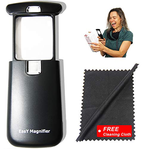 Pocket Magnifying Glass with LED Light 3X Small EasY Magnifier Hand Held Lighted Magnify Glasses for Close Work Reading Books Menu Pill Bottles; Mini Lens for Visually Impaired A Low Vision Aid