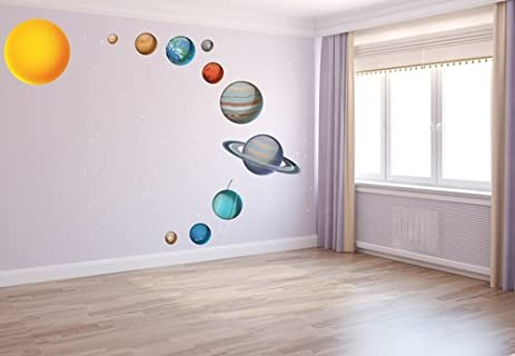 Amazon.com: Kids Solar System Bedroom Decal//Solar System Decals ...