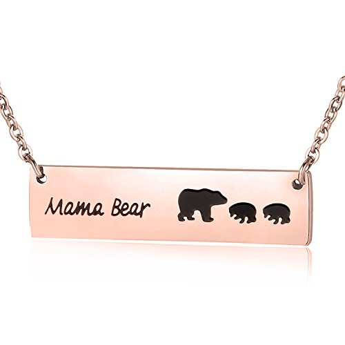 ENSIANTH Honey Family Mama Bear Bar Necklace Gifts for Friend (Rose Gold 2cub Bear)