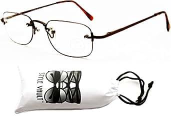 E3019-VP Style Vault Rimless Rectangular Color Edged Eyeglasses (B1358F Bronze/Brown-Clear)