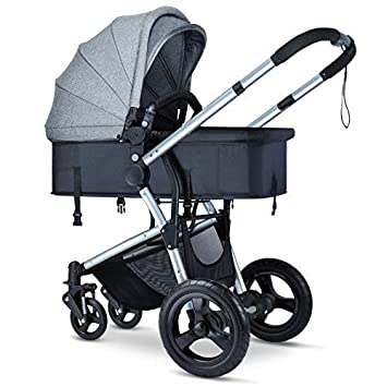 Baby Stroller with Reversible Bassinet – HEAO Reclining Foldable Toddler Stroller Carriage, Locking Anti-Shock Wheels, Large Canopy and Storage Basket Grey