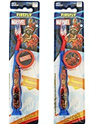 Best Marvel Avengers Superhero Travel Kit Toothbrush (2 Pack Bundle): Soft Bristles, Suction Cup w/Lenticular Durable Plastic Cap (Switches from
