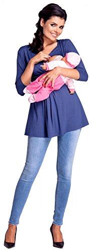 Zeta Ville - Premamá Top Camiseta de lactancia efecto 2 en 1 - para mujer - 945c Azul Jeans