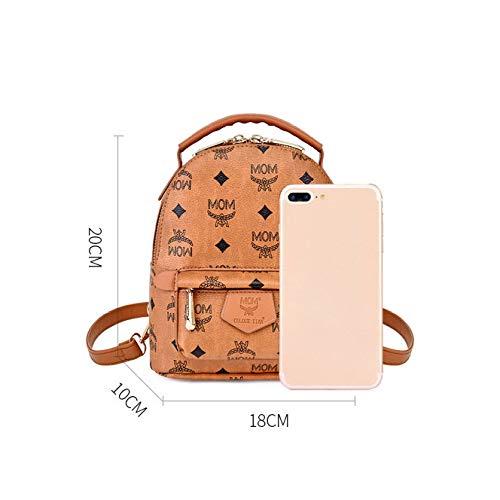 Brown Vintage Hombro Mochila Handbag De Bolsos Imprimir Wild NSSTB Señoras qZUzn1