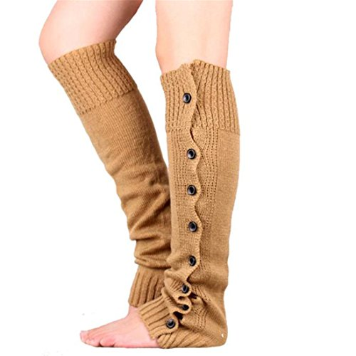 Cotton Leg Warmers Socks,Hemlock Womens Girl's Long Knitted Leg Socks Boot Cuffs (Khaki)