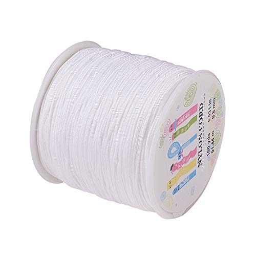 - Pandahall 1 Roll(About 90m, 100 Yards) 0.8mm Nylon Beading String Knotting Cord, Chinese Knotting Cord Nylon Shamballa Macrame Thread Beading Cord (White)